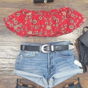 For Love and Lemons Red Floral Crop Top Bandeau